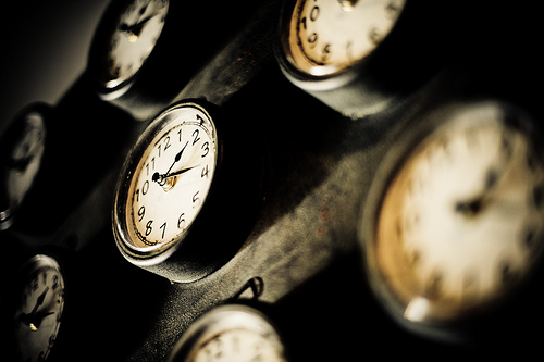 Clocks to illustrate a blog post by Yang-May Ooi about making time to achieve anything