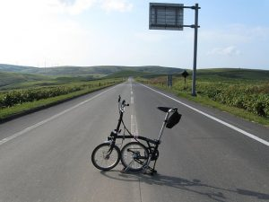 Brompton on the open road - to illustrate a post about ReWilding My Life by Yang-May Ooi