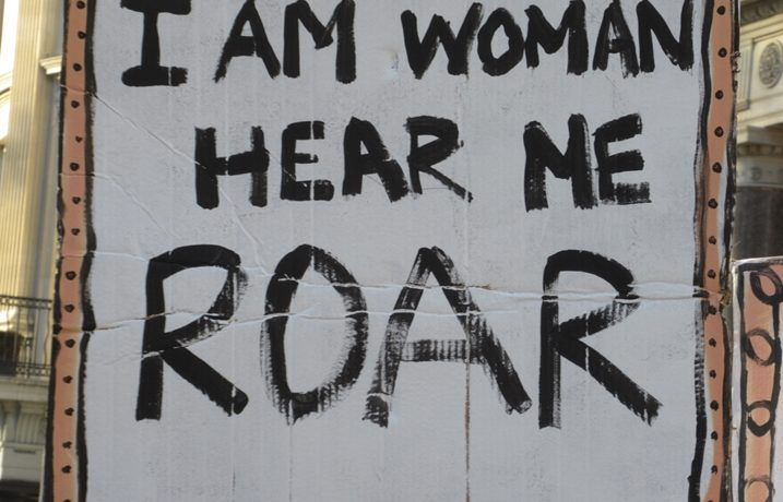 I am woman hear me roar - placard - to illustrate video by creative actionista, Yang-May Ooi, discussin the Women's March London 2017
