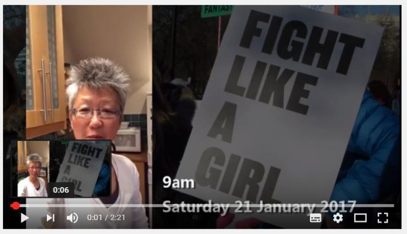 Fight like a Girl - still from video - creative actionista Yang-May Ooi reflecting on the Women's March 2017