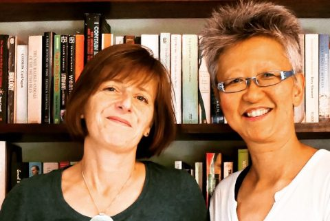 Anna Sayburn Lane (L) on the South London Voices podcast with host Yang-May Ooi (R)