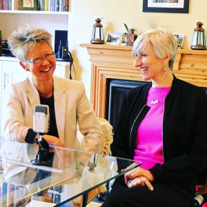 Personal Stylist Sarah Gilfillan (R) chats with South London Voices host Yang-May Ooi (L)
