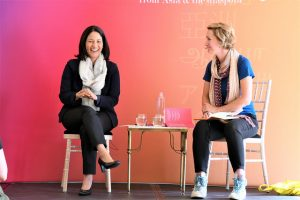 Mishal Husain and Bee Rowlatt at Asia House - photo by Yang-May Ooi, Tiger Spirit Photography
